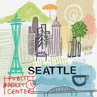 Seattle Cityscape- Art By Linda Woods Art Print by Linda Woods
