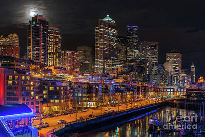 Skylines Royalty-Free and Rights-Managed Images - Seattle Cityscape Full Moonrise by Mike Reid
