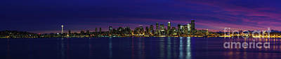 Photograph - Seattle Cityscape Sunrise Panorama Light by Mike Reid