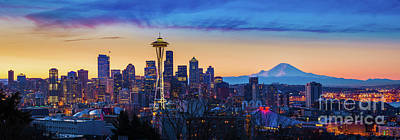 Puget Sound Photograph - Seattle Dawn Panorama by Inge Johnsson