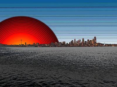 Sound Digital Art - Seattle Dawning 2 by Tim Allen