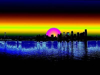 Digital Art - Seattle Dawning by Tim Allen