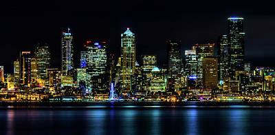 Photograph - Seattle Downtown At Night by TL  Mair
