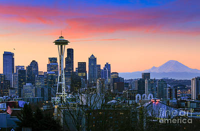 Puget Sound Photograph - Seattle Waking Up by Inge Johnsson