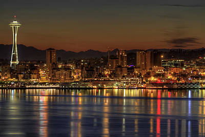 Puget Sound Photograph - Seattle Downtown Skyline From Alki Beach Dawn by David Gn Photography