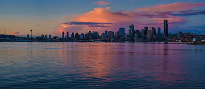Skylines Royalty-Free and Rights-Managed Images - Seattle Dusk Skyline Details Reflection by Mike Reid