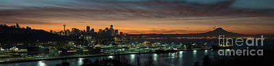 Skylines Royalty-Free and Rights-Managed Images - Seattle Early Morning Sunrise Panorama by Mike Reid