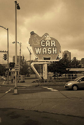 Seattle - Elephant Car Wash 2 Sepia Art Print