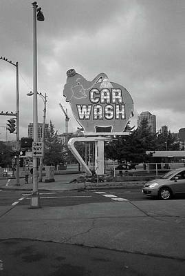 Seattle - Elephant Car Wash Bw 2 Art Print