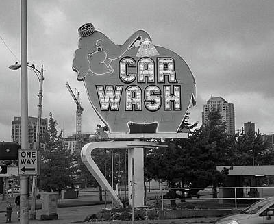 Seattle - Elephant Car Wash Bw Art Print