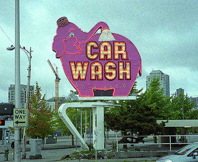 Seattle - Elephant Car Wash Art Print