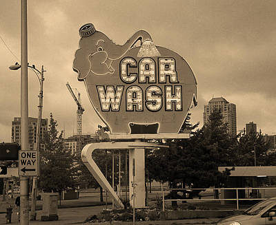 Seattle - Elephant Car Wash Sepia Art Print