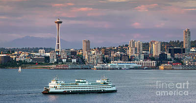 Photograph - Seattle Ferry And Skyline by Jerry Fornarotto