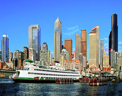Photograph - Seattle Ferry And Waterfront by Greg Sigrist