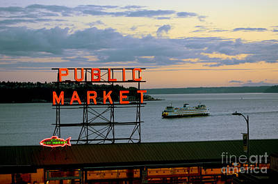 Seattle Ferry At Dusk Art Print by Ed Rooney