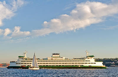 Seattle Ferry Boat Art Print by Tom Dowd