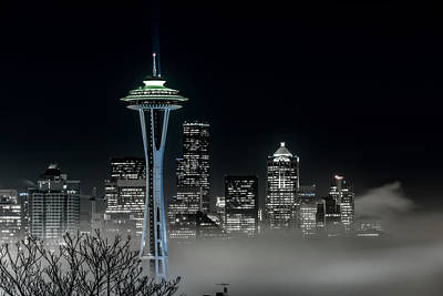 Photograph - Seattle Foggy Night Lights In Bw by Ken Stanback