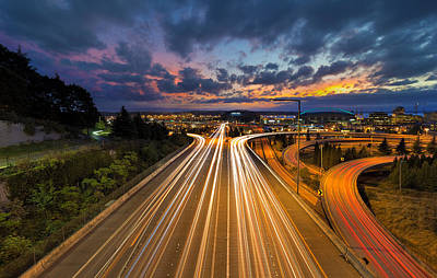 Pacific Northwest Photograph - Seattle Freeway Light Trails by David Gn
