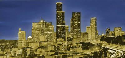 Digital Art - Seattle Skyline Glows by Al G Smith