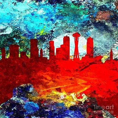 Seattle Skyline Mixed Media - Seattle Grunge by Daniel Janda