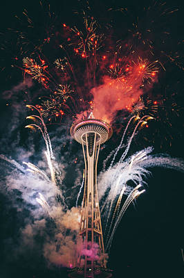 Firework Photograph - Seattle by Happy Home Artistry