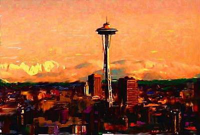 Painter Mixed Media - Seattle In The Clouds by Carla G Art Nitkey
