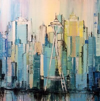Skyscape Painting - Seattle by Irina Rumyantseva