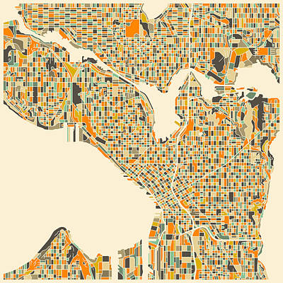 Colorful Abstract Digital Art - Seattle Map by Jazzberry Blue