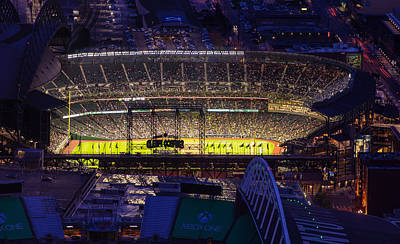 Photograph - Seattle Mariners Safeco Field Night Game by Mike Reid