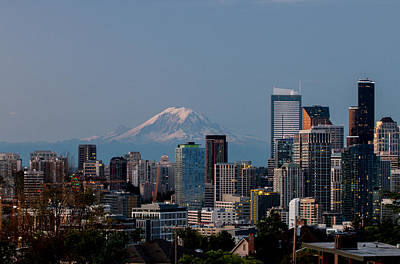 Photograph - Seattle-mt. Rainier In The Morning Light .1 by E Faithe Lester