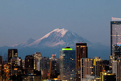 Photograph - Seattle-mt. Rainier In The Morning Light.2 by E Faithe Lester
