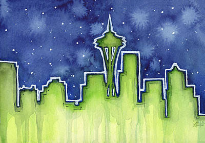 Seahawks Painting - Seattle Night Sky Watercolor by Olga Shvartsur