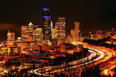 Photograph - Seattle Night Traffic by Brian O'Kelly