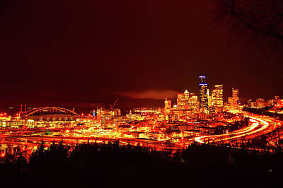 Photograph - Seattle Night Traffic Too by Brian O'Kelly