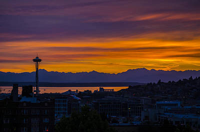 Seattle Olympic Mountain Range Sunset Art Print