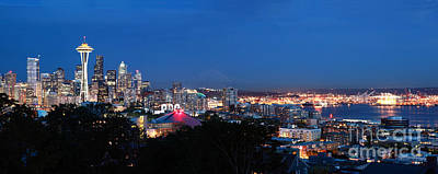 Photograph - Seattle Panorama At Twilight by Peter Simmons