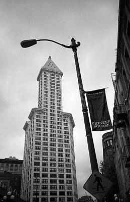 Seattle - Pioneer Square Tower 2 Bw Art Print