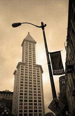 Seattle - Pioneer Square Tower Sepia Art Print