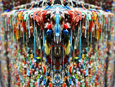 Recently Sold - Surrealism Digital Art Rights Managed Images - Seattle Post Alley Gum Wall Reflection Royalty-Free Image by Pelo Blanco Photo