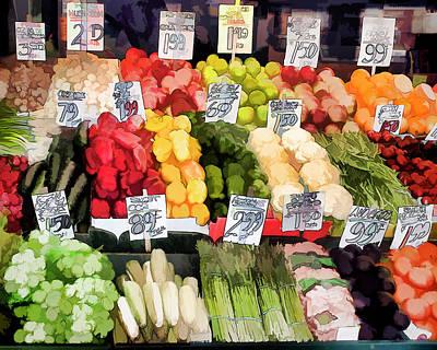 Vegetable Market Drawing - Seattle Public Market Stall Fine Art Print by Greg Sigrist