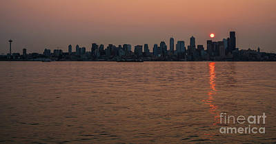 Skylines Royalty-Free and Rights-Managed Images - Seattle Red Skies Dawn by Mike Reid