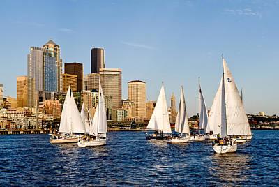 Seattle Sailboats Art Print by Tom Dowd