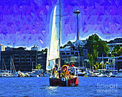Digital Art - Seattle Sailing by Kirt Tisdale
