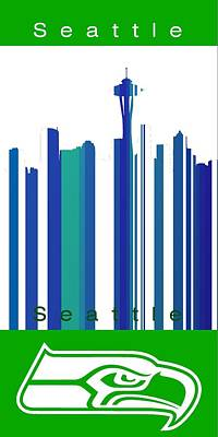 Seahawks Digital Art - Seattle Seahawks Skyline by Alberto RuiZ