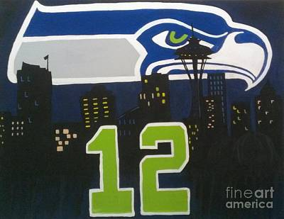 Seattle Seahawks Painting - Love Our Team by LKB Art and Photography