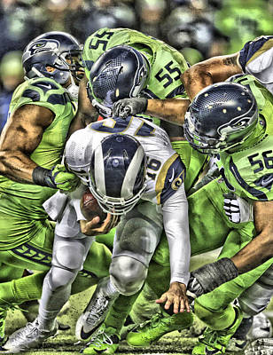 Seattle Mixed Media - Seattle Seahawks Team Art 1 by Joe Hamilton
