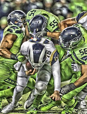 Mixed Media - Seattle Seahawks Team Art 1 by Joe Hamilton