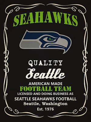 Painting - Seattle Seahawks Whiskey by Joe Hamilton