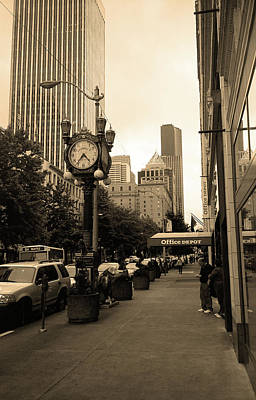 Seattle Sidewalk Sepia Art Print