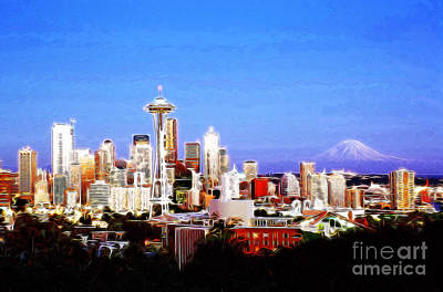 Digital Art - Seattle Sklyine Mount Rainier by Wernher Krutein